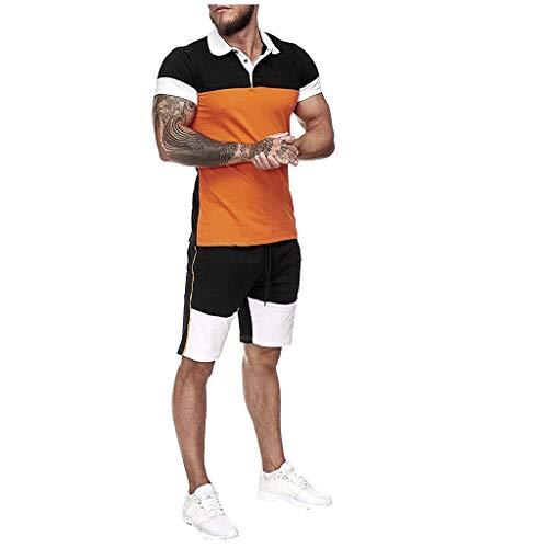 Realde Herren Polo Shirt Set Männer Stitching Kurzarm Hemdkragen Top T-Shirt Sport Atmungsaktiv Fitness Unifarben Slim Fit Kurz Hose Basic für Männer bis Größe S-XXL