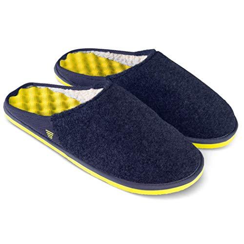 PR Soles Recovery Slipper | Massaging Sherpa Lined Slipper | Navy & Yellow | Women's 9 & Men's 8