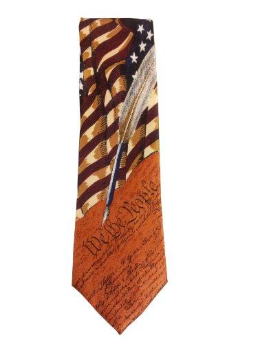 Men's Collectible Patriotic Novelty Men's Constitution American Flag Necktie ...