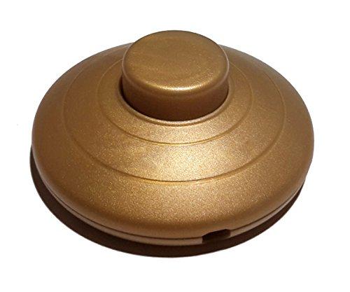 Fußschalter Gold für Rundkabel 250V/2A Schnurzwischenschalter für Zuleitungen und Anschlusskabel Fußtretschalter Ø 70x29