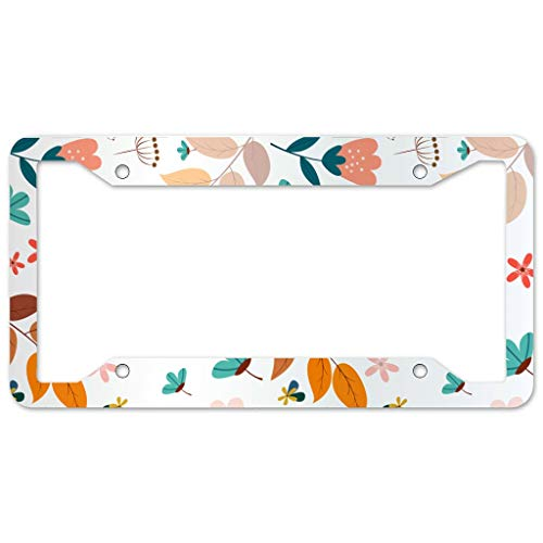 Bohohobo Floral Pattern License Plate Frame 4 Pieces Design License Plate Frame With 4Holes Fite For Dorm. Cabi white 16x31cm