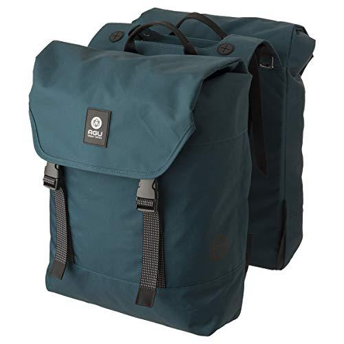 AGU Essentials DWR Urban Klickfix Doppelte Fahrradtasche für Gepäckträger, 36L Seitentasche Fahrrad, Wasserabweisend, Reflektierend, 100% Recyceltes Polyester - Blau