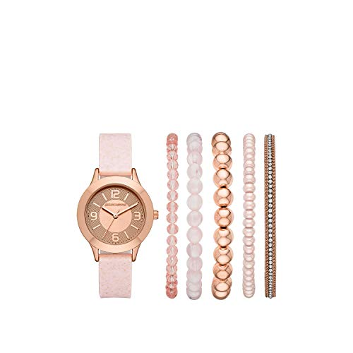 Skechers Women's Sets Alloy Steel Quartz Watch with Silicone Strap, Pink, 14 (Model: SR9024)