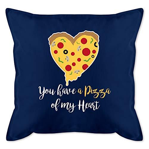 Shirtracer Valentinstag Kissen - You Have a Pizza of My Heart weiß - Unisize - Dunkelblau - Pizza Kissen - GURLI Kissen mit Füllung - Kissen 50x50 cm und Dekokissen mit Füllung