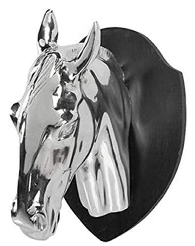 Casa Padrino decoración de Pared Cabeza de Caballo Trofeo Plata/Negro 20 x 28 x H. 23 cm - Accesorios Deco
