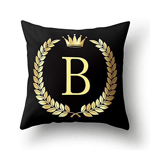 Kussen vierkant goud zwart alfabet Engels perzikhuid initiaal decoratie bedrukt kussen schattig geschikt voor bank slaapkamer woonkamer auto kleur hoes 5mmDual-C402D