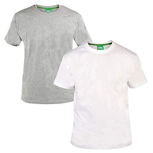 Duke - D555 - Juego de 2 camisetas de manga corta para hombre - Algodón - Grande, gris, 7XL