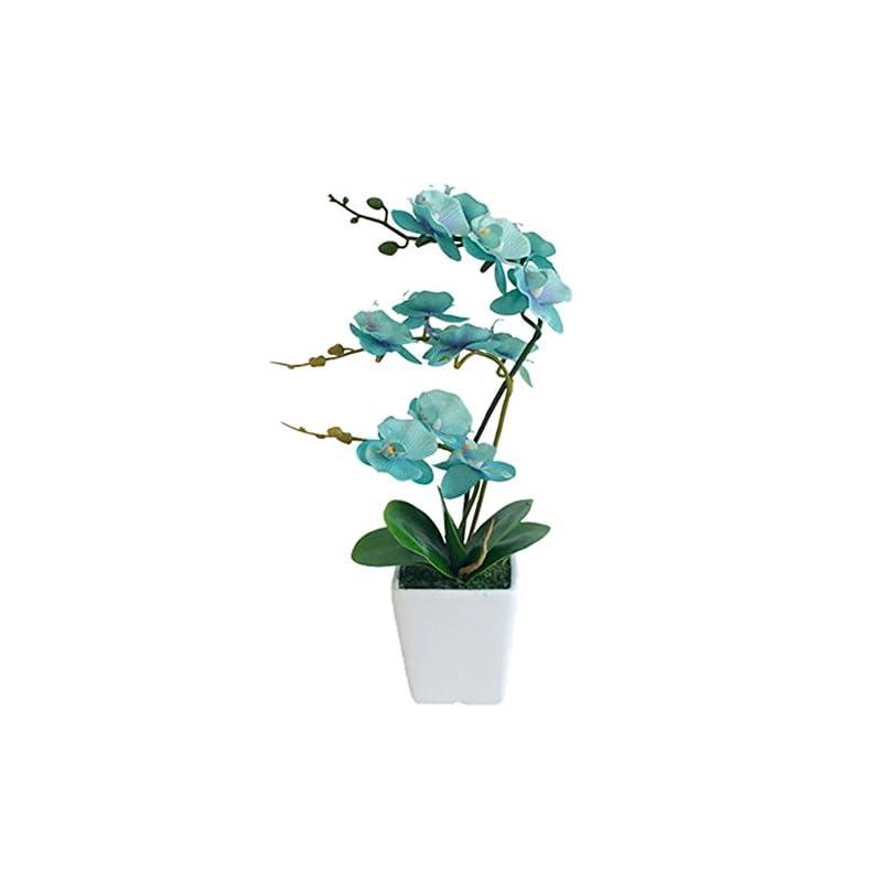 silk flower arrangements yszl 15 inches tall artificial silk phalaenopsis orchid flower plant pot arrangements (golden blue)