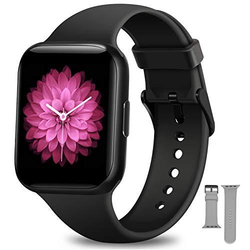 Smartwatch Uomo Donna, NAIXUES Orologio Fitness Impermeabile IP68 Smart Watch Bluetooth Cardiofrequenzimetro da Polso Contapassi Calorie Smartband Activity Tracker per Android iOS (Nero)