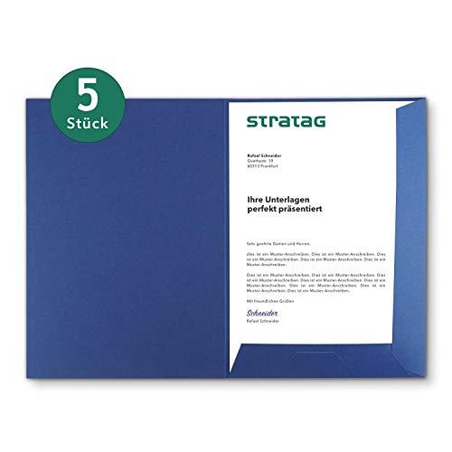 Präsentationsmappe A4 in Königsblau 5 Stück (wählbar) - erhältlich in 7 Farben - direkt vom Hersteller STRATAG - vielseitig einsetzbar für Ihre Angebote, Exposés, Projekte oder Geschäftsberichte
