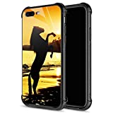 iPhone 8 Case,iPhone SE 2020 Case,Standing Sunset Horse iPhone 7 Cases for Girls Boys,9H Tempered Glass Graphic Design Shockproof Anti-Scratch Glass Case for Apple iPhone 7/8/SE2
