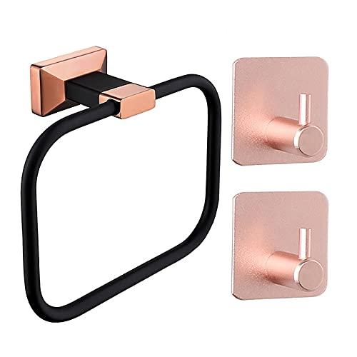 Soporte de pared para anillo de toalla con 2 ganchos sin taladrar toallero autoadhesivo para baño de latón