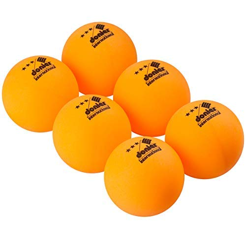 Donier Pelotas de Ping Pong de 3 Estrellas | Set de 6 Pelotas de Tenis de Mesa de Competición con Tamaño Reglamentario de 40 mm para Partidos de la ITTF | para Interior y Exterior (Naranja)