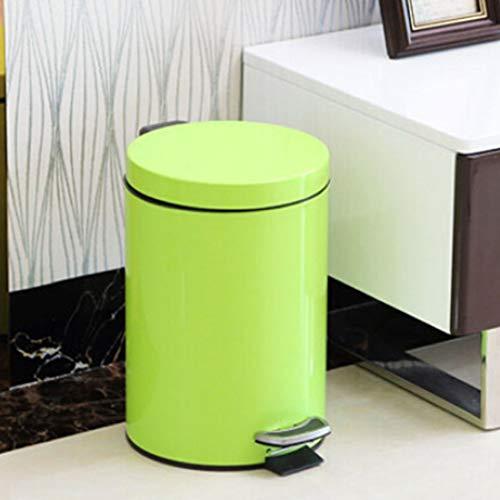 Artículos para el hogar WjFashion Redondas de Acero Inoxidable de Hogares del Hotel Oficina Cubierto Pedal Papelera, Tamaño: 5L (Acero Color) (Color : Verde)