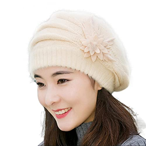 LULUZ Women's Knitted Berets Winter Warm Fashion Flower Disign Beanie Outdoor Casual Soft Comforty Hats Winter Gift for Friend Beige