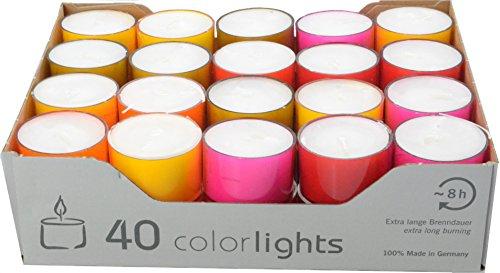 Wenzel-Kerzen Colorlights-Winter Edition Teelichte 8h Brenndauer, farbige PC Hüllen, bunt gemischt-Crazy Mix, 24 mm hoch, Durchmesser 38 mm