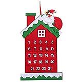 Calendario di Natale Avvento,Calendario di Natale Avvento in Feltro 3D Santa Calendario di Avvento con 24 Giorni Ornamenti Natale Appesi per Casa Ufficio Decorazione di Porta e Parete