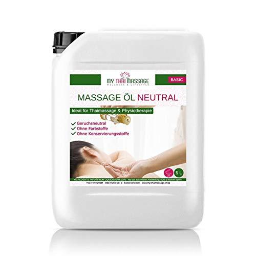 Kitama Massageöl Neutral 5-Liter | Körperöl zum Einsatz für Massagen I Für Thai-Massage Physiotherapie & Spa