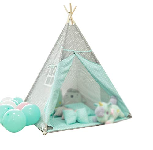 SZQ-Speeltenten Planken Tent, Indoor babyhuis Cute Warm Bed Tent Dot Pattern Game House Children's Room Princess Room Decoration Kinderen spelen huis ( Color : A , Size : 110*110*160CM )