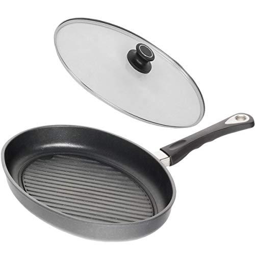 AMT Grill Fischpfanne Induktion oval mit Deckel 35x24 cm Aluguss antihaftbeschichtet