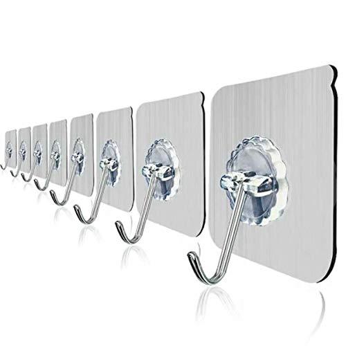 Spacewalker 10 Stück Haken Edelstahl 304 ATM transparent selbstklebend stark multifunktional belastbar max. 10 kg Stahl 60 x 60 x 1 mm