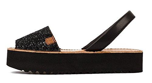 POPA LA 52 Glitter schwarz mit Platform, Damen-Sandalen, Schwarz - Schwarz - Größe: 40 EU