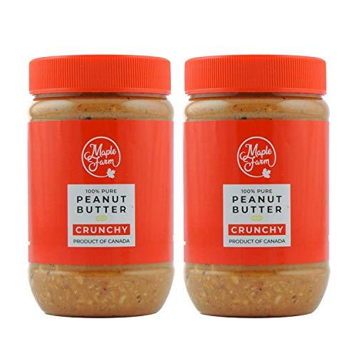 MapleFarm - 100% Puro Burro darachidi croccante (CRUNCHY) - 1 Kg (2 x 500g) - Burro arachidi proteico - Crema proteica - Burro di arachidi naturale - Crema di arachidi - Peanut butter crunchy