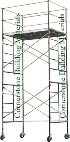 """CBM Scaffold Rolling Tower Standing at 14'2"""" HIGH with 3 Decks Aluminum Plywood Deck and Guard Rail"""