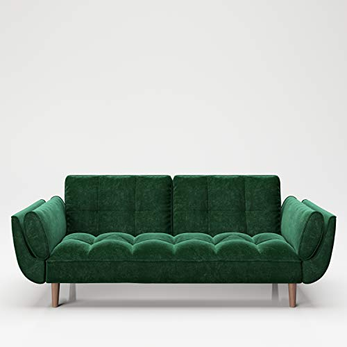 PLAYBOY Sofa mit Bettfunktion, Samtstoff in Grün, Petrol, stabile Massivholzfüsse, Bettsofa mit Verstellbarer Rückenlehne, 2er Sofa, 3er Sofa, Sofabett, 2-Sitzer, 3-Sitzer, Retro-Design, Club-Stil