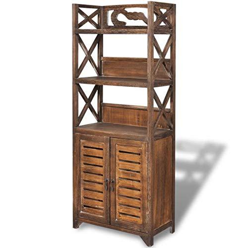 Hochschrank aus Holz mit 2 Türen und 3 Einlegeböden für Eingang, Küche, Wohnzimmer