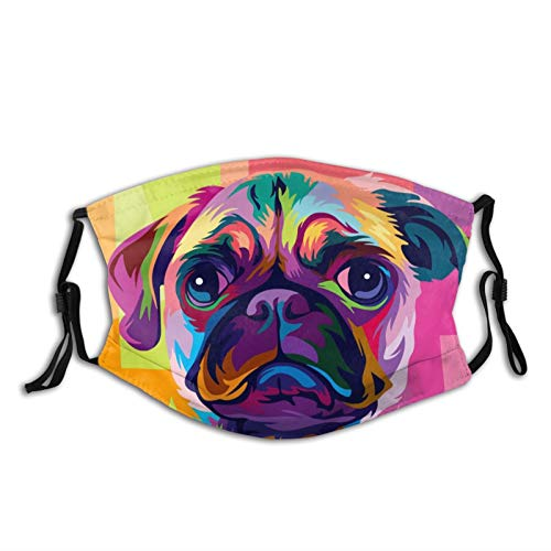 Pug Dog Pop Art Fashion Face Mask with Filter Pocket Washable Face Bandanas Balaclava Reusable Fabric Mask with 2 Pcs Filters