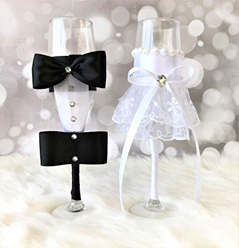 Abbie Home Champange Toasting Flute Glasses Set with Silk Bow White Lace Dress Rhinestone Décor for Couples Newlywed Married Groom Bride Husband Wife Anniversary (Glass Set)