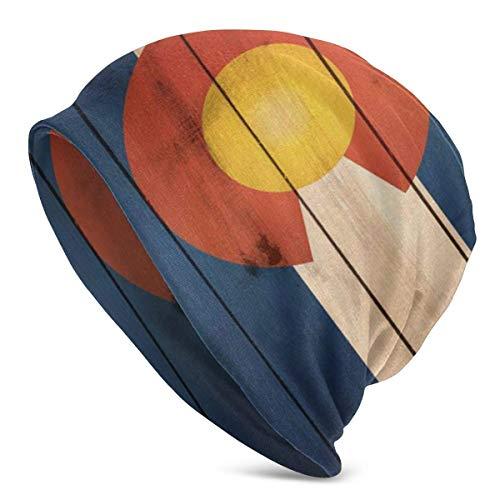 Vintage patrón de Madera Bandera de Colorado Unisex Mujeres Hombres Holgado Beanie Sombrero de Gran tamaño Holgado Gorro de Punto elástico