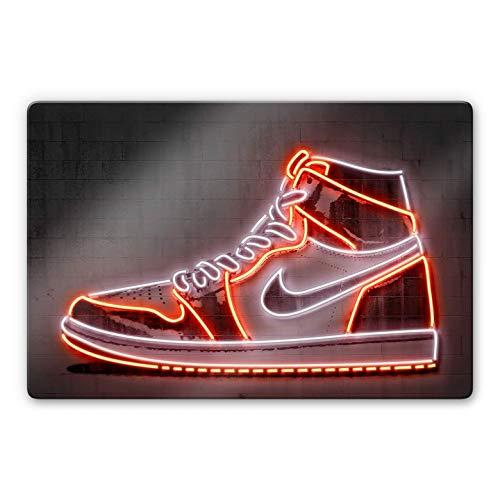 Glasschilderij Mielu - Neon Sneaker 60 x 40 cm| Wall-Art Wanddecoratie | Schilderij van Glas