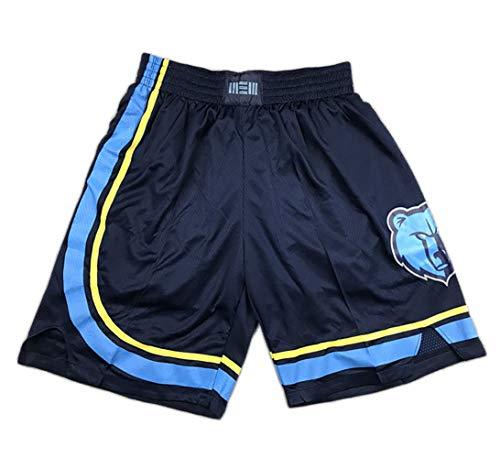 HYTGF Men's Basketball Shorts, Suitable for Grizzlies Morant Training Shorts, Fan Version mesh Outdoor Shorts-Blue-XL