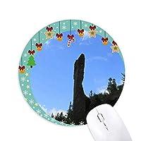 天然石柱 圆形防滑橡胶圣诞铃铛鼠标垫