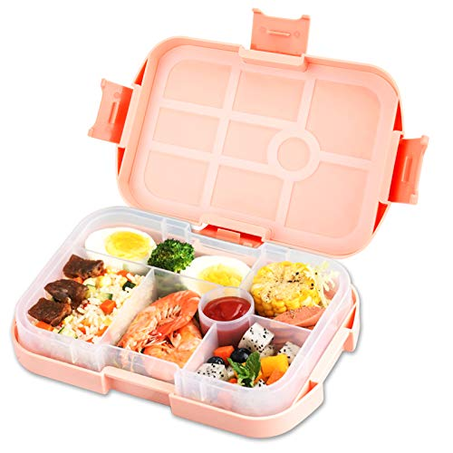 vitutech Brotdose Kinder, Bento Box Lunchbox mit 6 Unterteilungen und 1 Silikondichtung Halten Essen Frisch, Vesperdose Geeignet für Mikrowellen und Spülmaschinen, für Schule Picknick Wandern Reisen