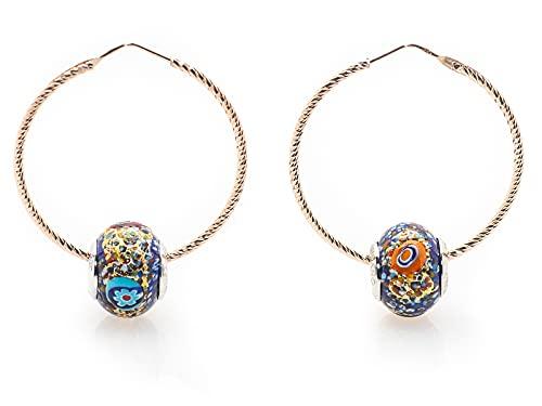 Pendientes de mujer de plata 925 de oro rosado, compatibles con todas las marcas de cristal de Murano, pendientes de aro grandes