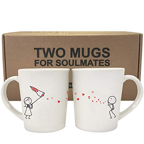 BOLDLOFT Catch My Love Too His and Hers Couples Coffee MugsGifts for HerGirlfriendWifeCouples Gifts for Anniversary Wedding Valentine#039s DayEngagement GiftsBridal Shower GiftsHis and Hers Gifts