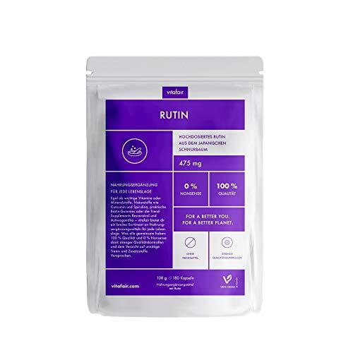 VITAFAIR Rutin (500mg pro Tagesdosis) - Vegan, Ohne Magnesiumsalze, German Quality - hochdosiert aus dem japanischem Schnurbaum - 180 Kapseln