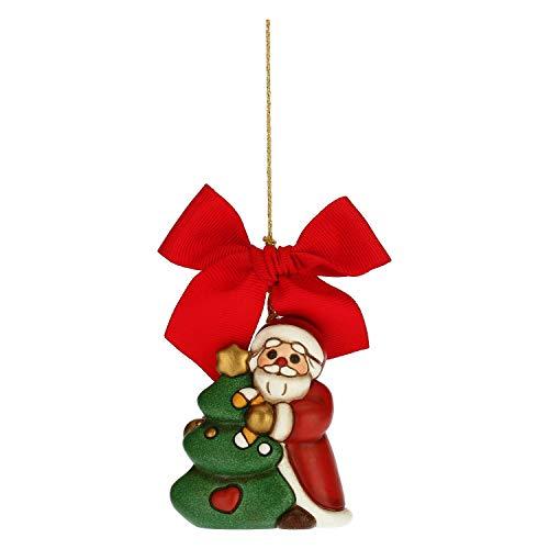 THUN - Addobbo per Albero di Natale, Babbo Natale con Albero - Decorazioni Natale Casa - Formato Grande - Ceramica - 5,5 x 3,5 x 6,4 h cm