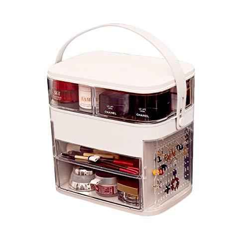 MF Kosmetikbox Kosmetische Aufbewahrungsbox Staubfester Hautpflege-Schminktisch Desktop Faltbarer Drehbarer Schmuck Integrierter Ständer