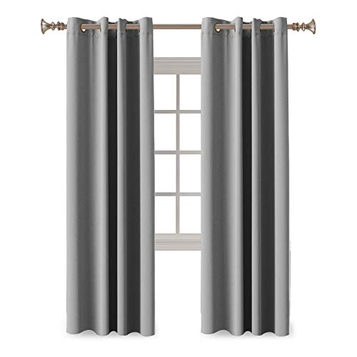 Bedroom Blackout Curtains Panels, Triple Weave Microfiber Energy Saving Thermal Insulated Solid Grommet Blackout Draperies for Bedroom/Nursery Kid's Room, Dove Gray, 2 Panels, 52' W x 96' L