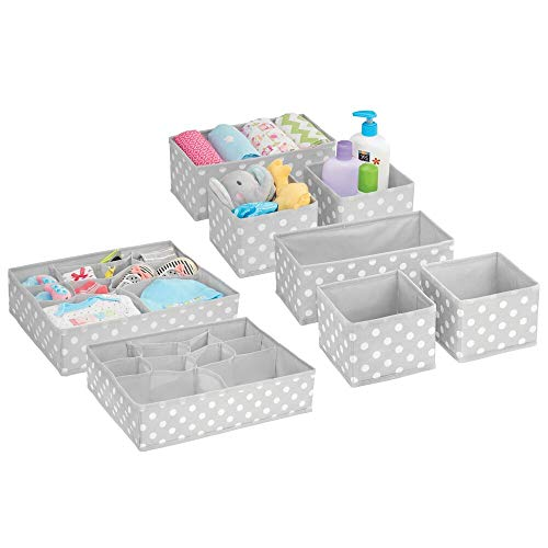 mDesign Juego de 8 Cajas organizadoras para Cuarto Infantil – Elegantes cestas de Tela en Diferentes tamaños – Organizadores para armarios de Fibra sintética Transpirable – Gris/Blanco