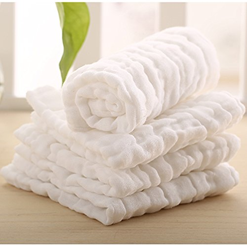 Lucear Musselin Babybadetuch mit Haken, 6 Stücke, 30x30cm weiß verwendbare Tücher, Babytücher Beste Geschenke für Baby