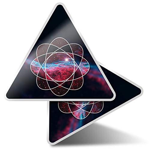 2 pegatinas triangulares de 10 cm, sistema solar geométrico espacial estrellas de la NASA pegatinas divertidas para portátiles, tabletas, equipaje, reserva de chatarra, neveras #8832