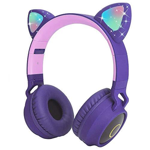 Cuffie Bluetooth Cartoon con orecchie di gatto con luce LED, slot per schede SD, radio FM, jack audio da 3,5 mm, senza fili e cablate, cuffie pieghevoli per bambini, ragazze e adulti (viola)