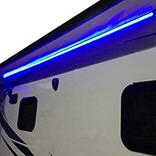 RecPro RV Camper Motorhome Travel Trailer 16' Blue LED Awning Party Light w/Mounting Channel & White PCB 12v Light