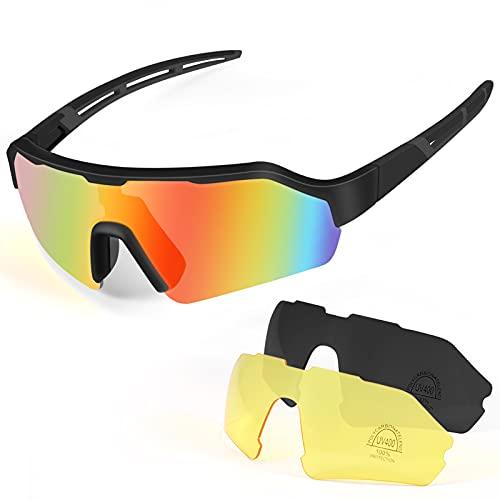 KNMY Polarisierte Sportbrille UV400-Schutz, Fahrradbrille für Herren und Damen mit 3 Wechselgläser, Radbrille mit Superleichtem Rahmen für Radfahren Klettern Angeln Fahren Golf (Schwarz)