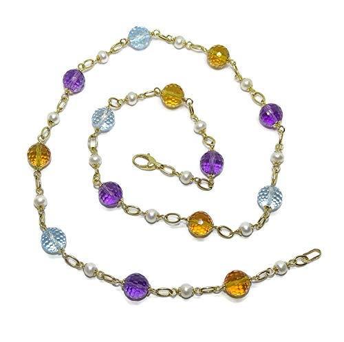 Collar para Mujer de Oro Amarillo de 18K con 14 Piedras de Color redondas y 15 perlas tipo botón de...